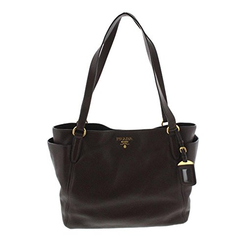 Prada Womens Leather Double Handle Shopper Handbag