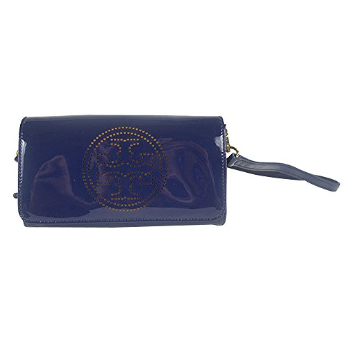 Tory Burch Glossy Patent Logo Perforated Clutch Bag Normandy Blue