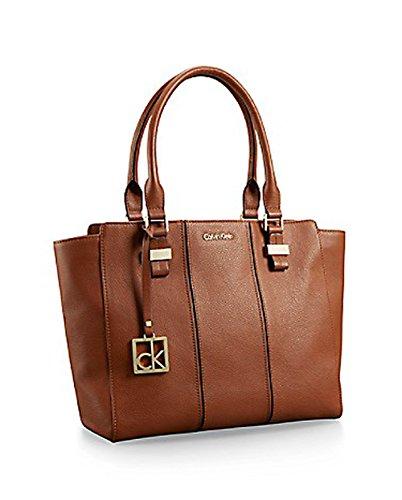 Calvin Klein Caitlin Leather Shopper Tote Handbag Chestnut