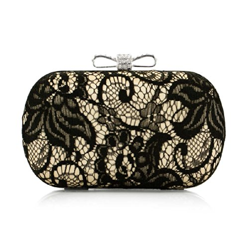 BMC Satin Finished Black Lace Rhinestone Metal Bow Closure Clasp Fashion Clutch