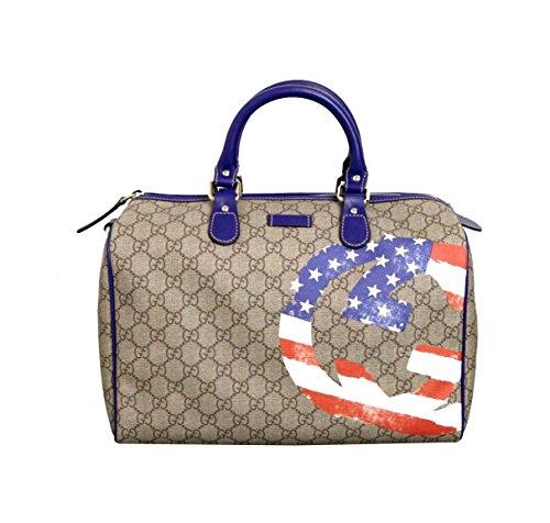 Gucci Beige Coated Canvas Joy Boston American Flag Satchel Bag 195451