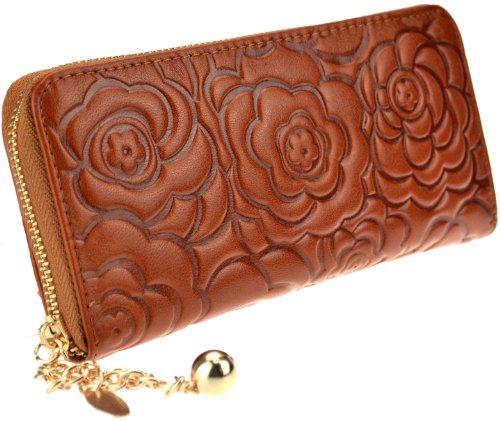 Heshe Women's Genuine Leather Purse Organizer Wallet Zippered Clutch Card Holder