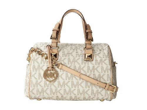 Michael Kors Signature Print Satchel Handbag Bag 30F2GGCS2B (One Size, Pink)