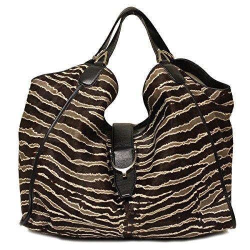 Gucci Soft Stirrup Limited Edition Zebra Pony Hair and Leather Shoulder Bag 296855