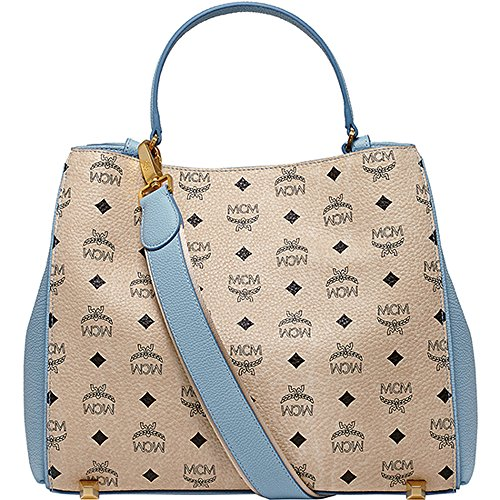 [New Arrival] 2015 SS MCM Authentic CORINA VISETOS Medium Shoulder Bag – Blue MWS5SCN03LU