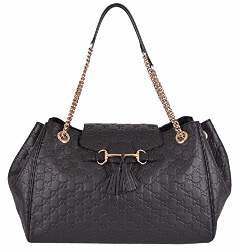 Gucci Women's Black Leather GG Guccissima Emily Handbag