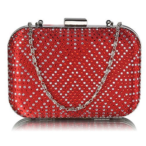 Ladies Red Box Clutch Bag Diamantes Evening Bag KCMODE