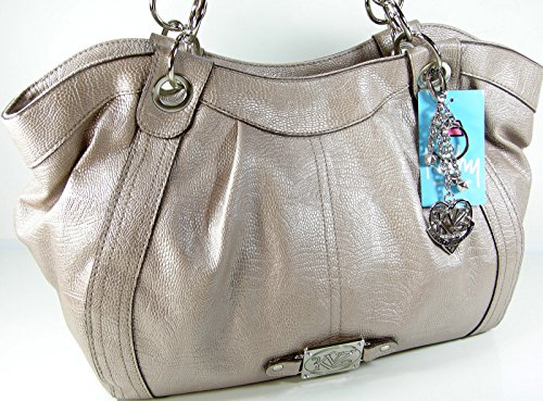 New Kathy Van Zeeland Purse Satchel Hand Bag Shoulder Tote Pearly Metallic Beige