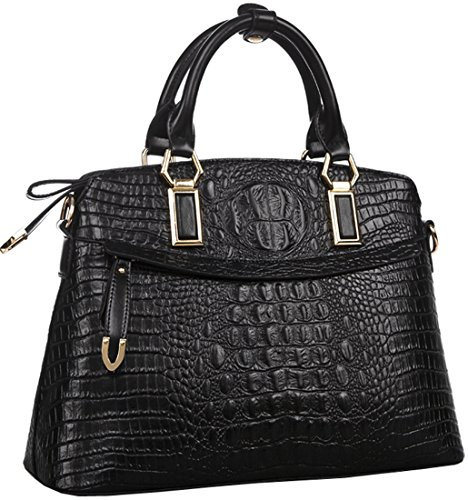 Heshe® New Office Lady Genuine Leather Crocodile Simple Style Fashion Designer Tote Top Handle Shoulder Cross Body Bag Shell Package Zippered Messenger Bag Satchel Purse Women's Handbag