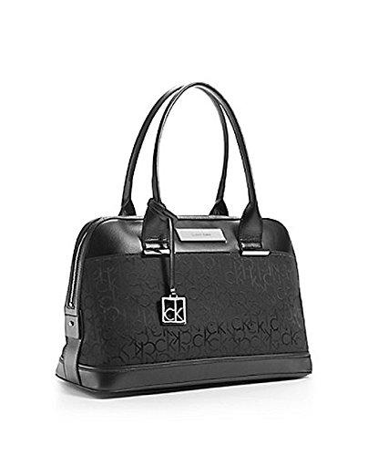 Calvin Klein Logo Jacquard Dome Satchel Handbag Purse Black