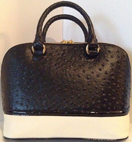 Brahmin vivian black abbot leather handbag black white