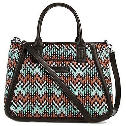 Gorgeous Vera Bradley Trimmed Trapeze Satchel Handbag in Sierra Stream Faux Leather Collection