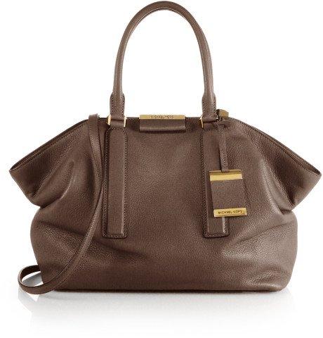 Michael Kors Brown Leather Elephant Lexi Large Satchel Shoulder Bag New