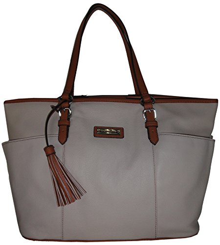 Tignanello Pebble Leather Preppy Classic Tote Handbag, Sand/Whiskey