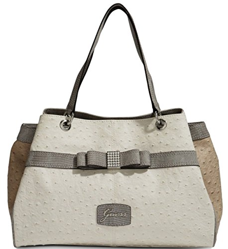 GUESS Hesperia Large Satchel Tote Bag Handbag Purse, White Multi