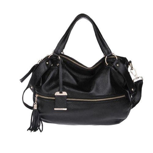 Fineplus Women's Tassel Zipper Shoulder Strap Handbag Black