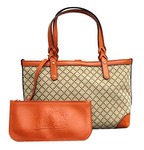 Gucci Craft Beige Canvas Handbag with Orange Leather Trim 269878 9711