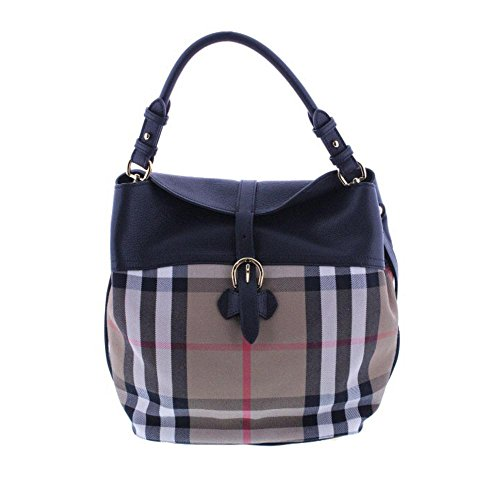 Burberry Womens Sycamore Leather House Check Hobo Handbag