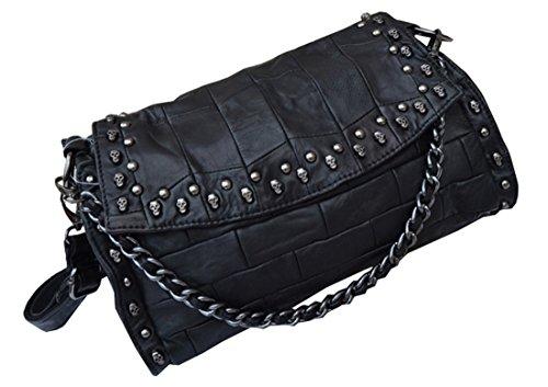 Heshe Soft Ol Genuine Leather Sheepskin Simple Style Organizer Fashion Link Chain Crossbones & Rivets Hobo Shoulder Crossbody Zippered Bag Satchel Purse Women's Handbag
