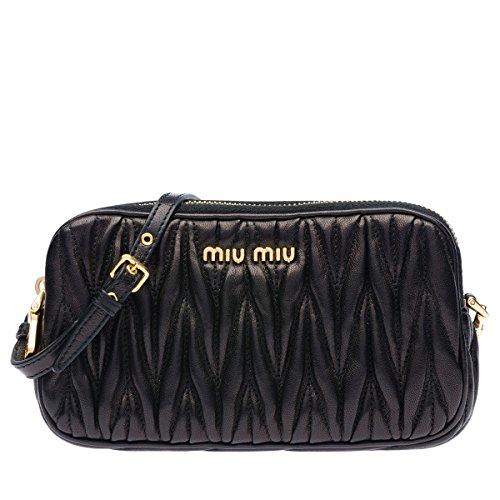 Miu Miu Matelasse Black Nappa Leather Pleated Wristlet Handbag 5ARH02