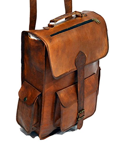 *ECOCRAFTWORLD* ; Leather Handmade Vintage Style 2 in 1 Backpack/College Bag / messenger bag