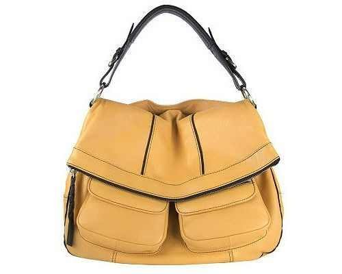 Oryany Citrus Yellow Leather Katie Large Flap Messenger Shoulder Bag Satchel Purse