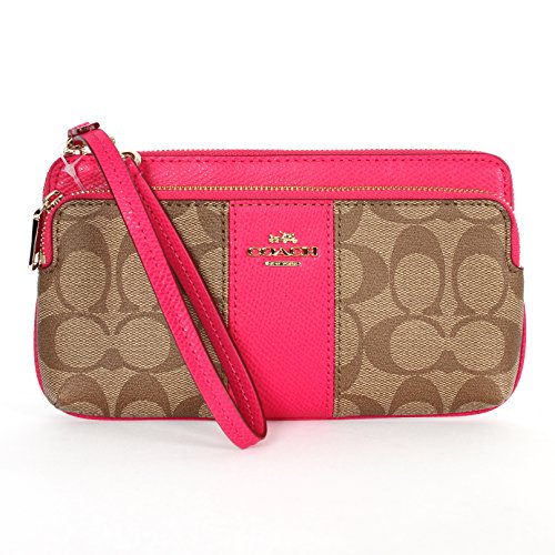 Coach Signature PVC Leather Double Zip Wristlet/wallet F52848 Khaki/pink Ruby