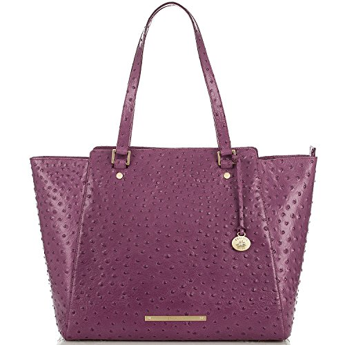 Brahmin Tori Tote Fig Normandy Ostrich Leather Purple