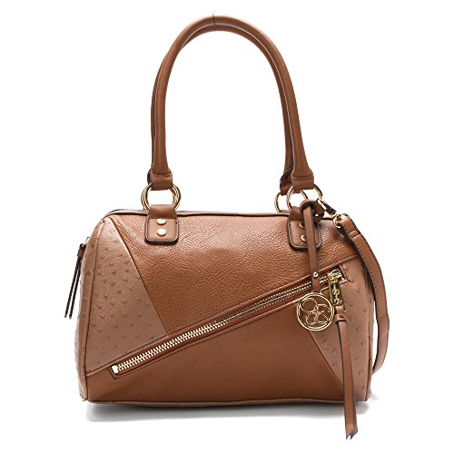 Jessica Simpson Women's Bella Mix Media Satchel Whiskey