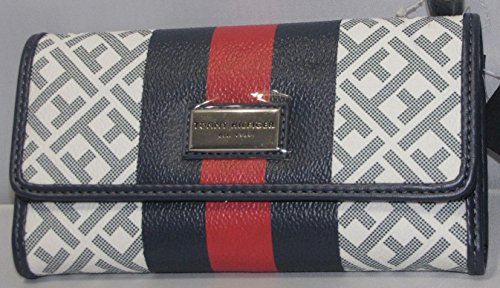 Tommy Hilfiger Women's Clutch Checkbook Wallet Blue Red White