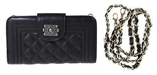 Beaute Bags Chain-Traveler Quilted Wallet & Removable Chain Shoulder purse and evening bag clutch