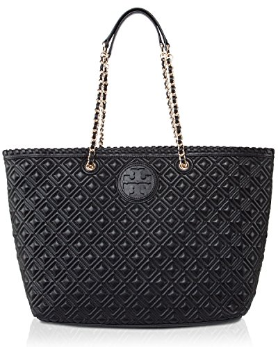Tory Burch Marion Quilted Womens Black Purse Leather Tote