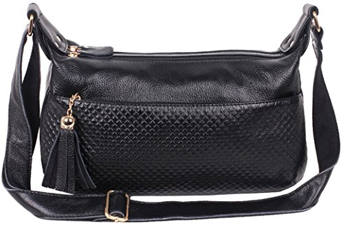 Heshe®fashion Women's Genuine Leather Grid Tassel Cross Body Shoulder Satchel Handbag Purse Top Handle Bag for Ladies