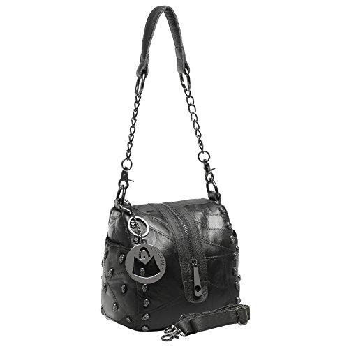 MG Collection MERLA Black Gothic Skull Studded Lambskin Shoulder Bag Purse
