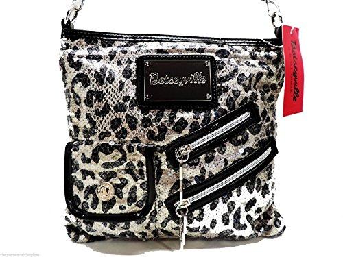 Betsey Johnson Cheetah Sequined Crossbody Gunmetal Betseyville Handbag