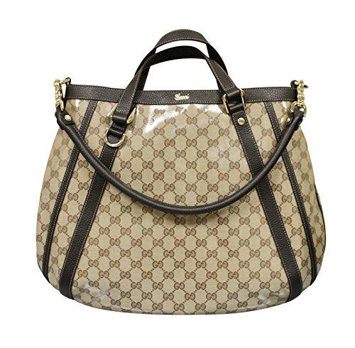 Gucci Brown Crystal Canvas Abbey Tote Convertible Handbag 268641