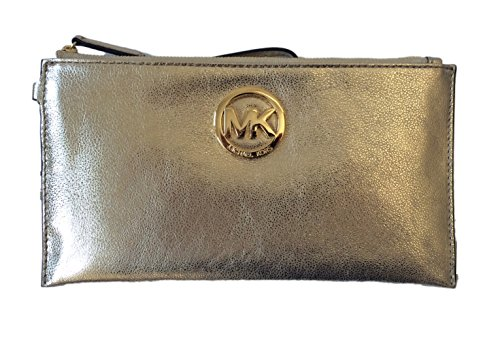 Michael Kors Fulton Large Pale Gold Leather Top Zip Clutch & Wristlet
