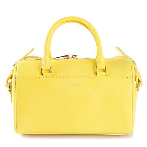 Saint Laurent 6 Hour Duffel Bag in Neon Yellow Calfskin Leather