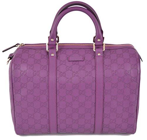 GUCCI 265697 Women's Purple Leather GG Guccissima Boston Handbag O/S