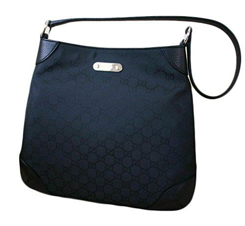 Gucci Nylon Black Hobo Handbag Shoulder Bag 196140