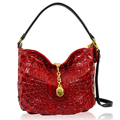 Marino Orlandi Italian Designer Red Monogram Leather Large Purse Slouchy Bag