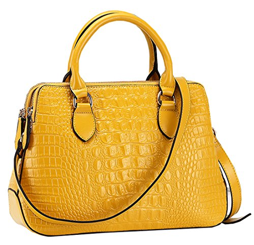 Heshe® New Office Lady Genuine Leather Crocodile Simple Style Fashion Designer Tote Top Handle Shoulder Cross Body Bag Zippered Messenger Bag Satchel Purse Handbag for Women