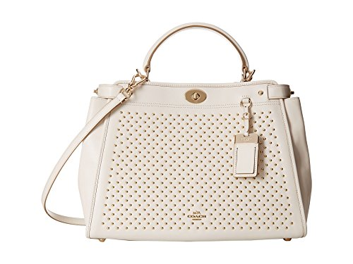 Coach Leather Gramercy Pinnacle Studs Convertible Satchel Bag 35285 Chalk