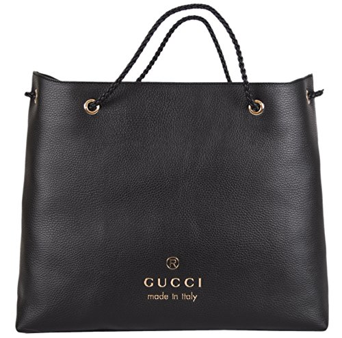 Gucci Women's Black Textured Leather Large Braided Handle Tote