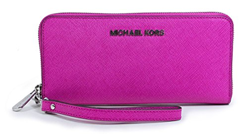Michael Kors Jet Set Travel Tech Continental Wallet Wristlet Fuschia