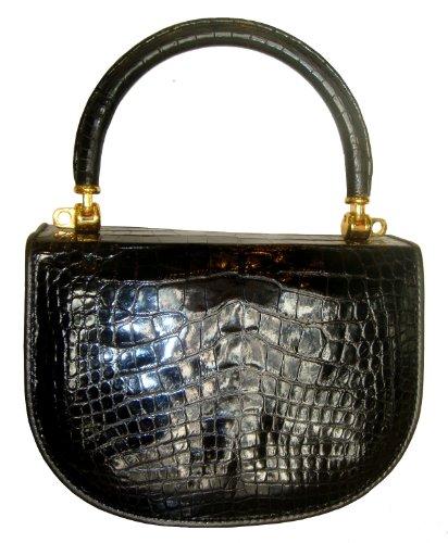 LolaAL_Bk- Genuine Alligator Skin Handbag