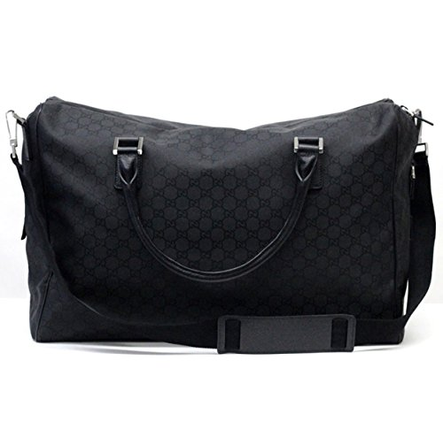 Gucci 196356 Gucci Unisex Large Duffle Bag Gg Logo Black Nylon and Black Leather