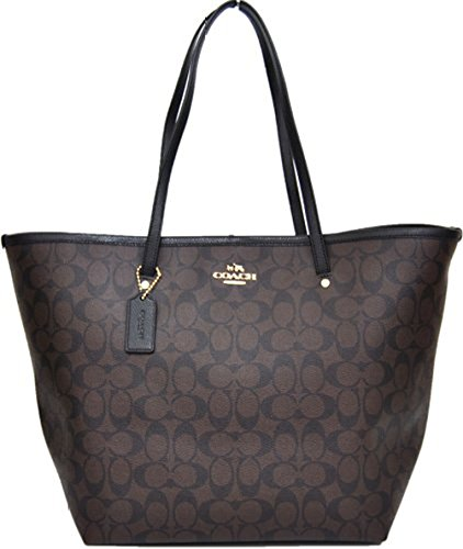 Coach Signature Large Taxi Tote (Brown/ Black) #34105