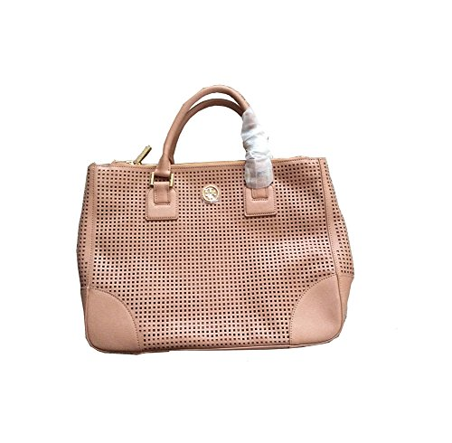 New Without Tag Tory Burch Robinson Double Zip Perforated Leather Tote handbag purse beige mousse RP$575