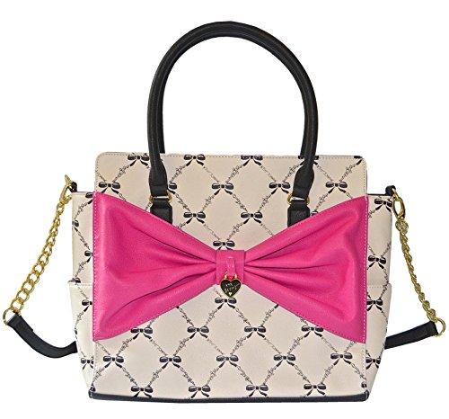 Betsey Johnson Lattice Bows Satchel Purse Shoulder Bag Handbag